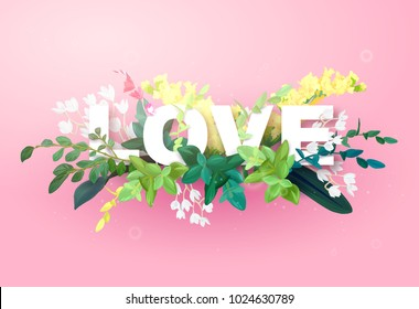 Integrated love lettering on a pink background and decorated with flowers, green leaves and plant branches. Letters with the effect 3d. Vector illustration.