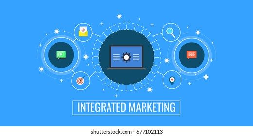 Integrated marketing campaign, customer interaction, marketing communication application flat vector banner with icons isolated on blue background.