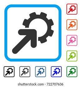 Integration Cog icon. Flat grey iconic symbol inside a light blue rounded rectangle. Black, gray, green, blue, red, orange color additional versions of Integration Cog vector.