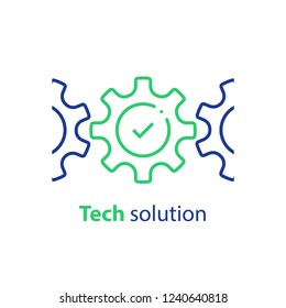Integration concept, technology solution, cogwheel and check mark, system compliance, business automation, software development, installment and maintenance, vector line icon