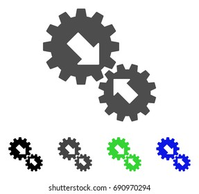 Integration Gears flat vector pictogram. Colored integration gears, gray, black, blue, green icon versions. Flat icon style for graphic design.
