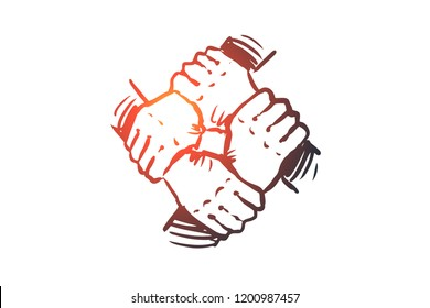 Integration, hand, teamwork, together, group concept. Hand drawn human hands holds together concept sketch. Isolated vector illustration.