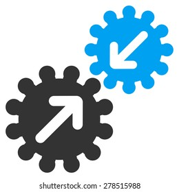 Integration icon from Business Bicolor Set. This isolated flat symbol uses modern corporation light blue and gray colors.