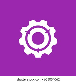 Integration icon, gear and arrow