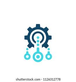 Integration, optimization vector icon with cogwheel