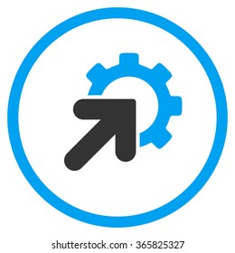 Integration vector icon. Style is bicolor flat circled symbol, blue and gray colors, rounded angles, white background.