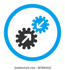 Integration vector icon. This rounded flat symbol is drawn with blue and gray colors on a white background.