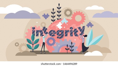 Integrity vector illustration. Flat tiny honest persons character concept. Together partnership holds word text. Ethical behavior and values definition visualization. Modern business moral strategy.