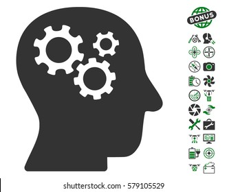 Intellect Gears icon with bonus nanocopter service pictograph collection. Vector illustration style is flat iconic green and gray symbols on white background.