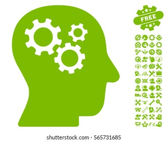 Intellect Gears pictograph with bonus configuration symbols. Vector illustration style is flat iconic eco green symbols on white background.