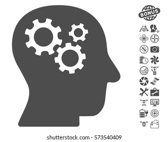 Intellect Gears pictograph with bonus drone tools icon set. Vector illustration style is flat iconic symbols on white background.