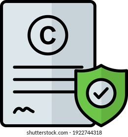 Intellectual copyright concept vector color icon design, trademark attorney symbol on white background, Law Firm and Legal institutions Stock illustration