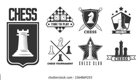 Intellectual game chess isolated monochrome icon pieces and chessboard vector pawn and rook knight an bishop queen and king emblem or logo competition or tournament swords and shield symbols.