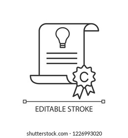Intellectual property and copyright linear icon. Idea patent. Thin line illustration. Invention. Contour symbol. Vector isolated outline drawing. Editable stroke