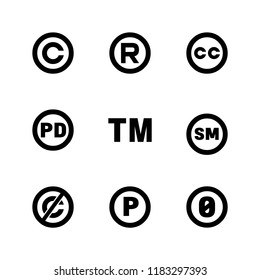 Intellectual property icons: copyright, creative commons, trademark, public domain, all rights reserved, service, sounnd recording.