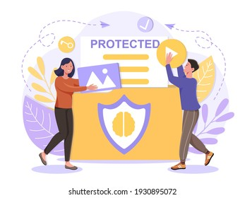 Intellectual property protection from plagiarism concept People carry protected items Product exclusive usage Flat abstract metaphor cartoon vector illustration concept on isolated white background