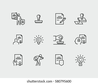 Intellectual property vector icons in thin line style