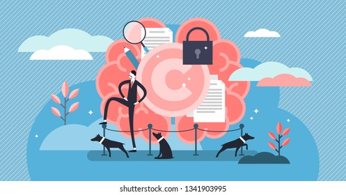 Intellectual property vector illustration. Flat tiny author persons concept. Idea legal owner information protection with trademark and copyright. Data license trade or piracy and plagiarism control.