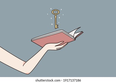 Intelligence, education, unlimited access to knowledge concept. Female hands holding open book with magic golden key meaning chance to unlock wisdom in studying vector illustration