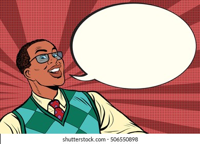 Intelligent African with glasses says comic bubble, pop art retro comic book vector illustration
