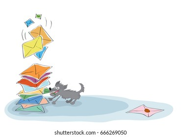 Intelligent dog drags a green envelope from a large stack of incoming messages. Checking and sending email messages