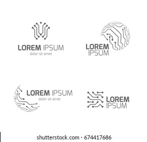 Intelligent electricity technology company vector logos with circuit board elements. Circuit board logo for technology company illustration