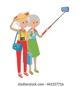 Intelligent modern elderly women using mobile phone. Grandmother makes selfie on smartphone. Flat illustration isolated on white background of senior traveling.