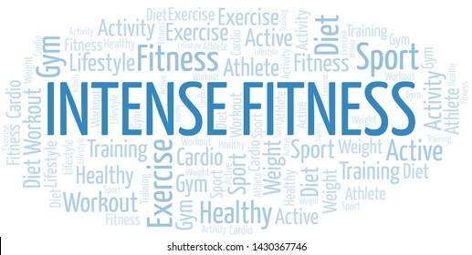 Intense Fitness word cloud. Wordcloud made with text only.