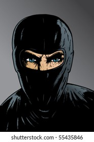Intense Ninja, thief or special forces. With vector, eyes/face are on a separate layer, so it can be easily removed.