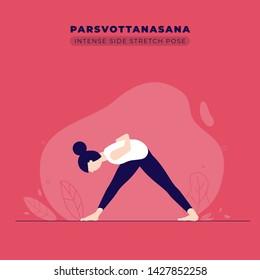 Intense Side Stretch Yoga Pose Illustration