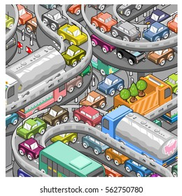 Intense traffic jam on highway (isometric illustration)