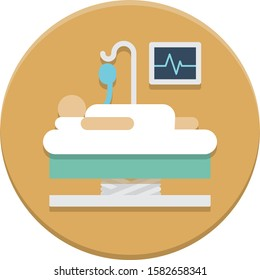 Intensive care unit icon in flat design style on round background