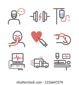 Intensive Care Unit. ICU line icons. Hospital department. Health center. Vector sign for web graphics.