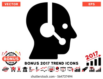 Intensive Red And Black Operator pictogram with bonus 2017 trend icon set. Vector illustration style is flat iconic bicolor symbols, white background.