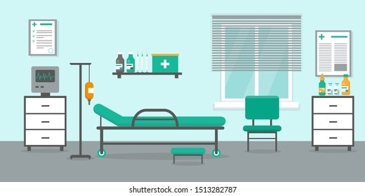 Intensive therapy room with bed, window and medical equipment. Hospital emergency room interior vector.illustration.