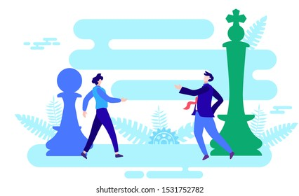 interaction with authority, chess pawn and king flat vector illustration