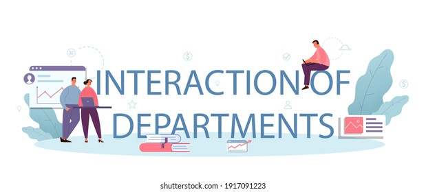 Interaction of departments typographic header. Business teamwork. Idea of partnership and departments cooperation. Business profit and financial growth. Isolated flat vector illustration