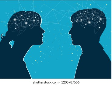 Interaction of genders. Male and female profile, the concept of communication. Male and female brain, connection of thoughts, dialogue