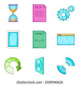 Interaction program icons set. Cartoon set of 9 interaction program vector icons for web isolated on white background