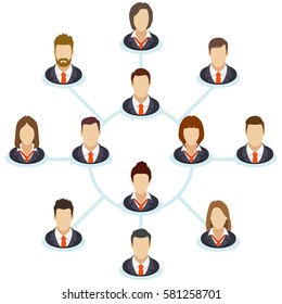 The interaction of the staff. Corporate organization chart with business people icons. Company business structure in a flat style. Vector illustration.