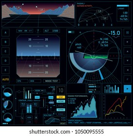 Interactive dashboard design, HUD interface screen of flying machine or vehicle with real time flight parameters. Vector illustration