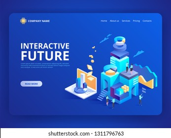 Interactive future innovation. Retail and lifestyle at store. Social city of the future. Experience of work, learning or entertaining on augmented reality. Vector isometric illustration