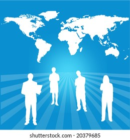 interactive global success team with world map background