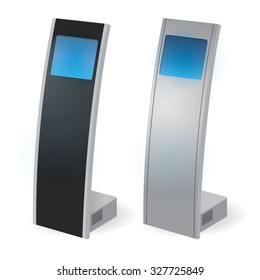 Interactive Information Kiosk Terminal Stand Touch Screen Display, white background