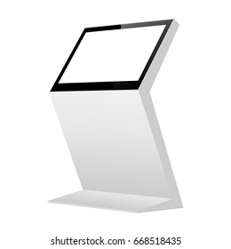 Interactive informational kiosk with blank screen isolated. Digital signage mockup to showcase products, advertising. Vector illustration