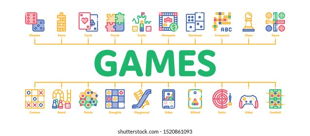 Interactive Kids Games Minimal Infographic Web Banner Vector. Domino, Chess And Video Games Controller Linear Pictograms. Cards, Billiard, Darts Contour Illustrations