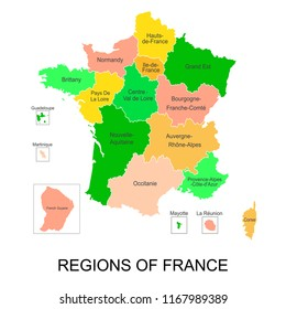 Interactive map of metropolitans French regions with 5 overseas regions, Administrative divisions of France.