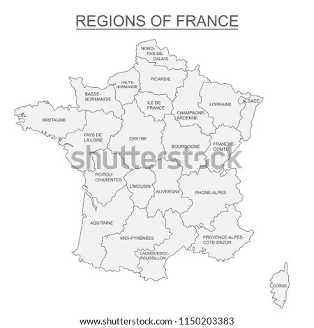 Interactive Map Metropolitans French Regions On Stock Vector