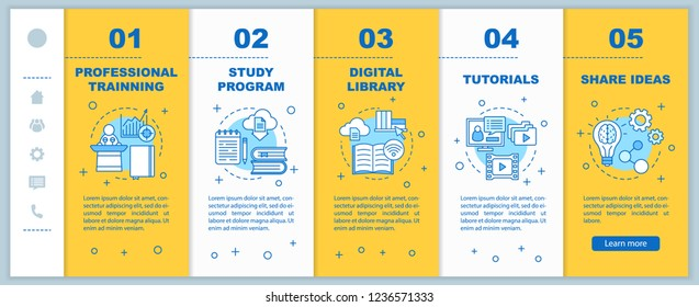 Interactive training onboarding mobile web pages vector template. Online education. Study program, library, tutorials, share. Responsive smartphone website interface. Webpage walkthrough step screens