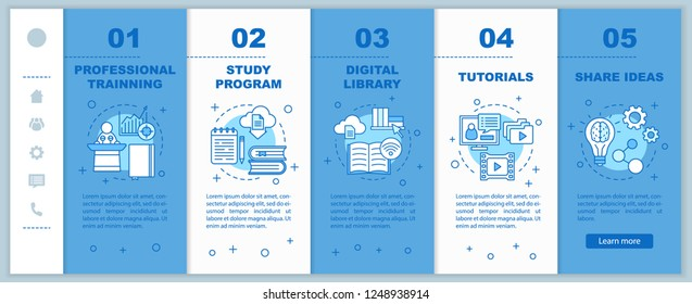Interactive training onboarding mobile web pages vector template. E-learning. Study program, library, tutorials, share ideas. Responsive smartphone website interface. Webpage walkthrough step screens